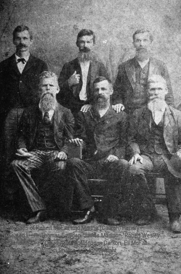 Six sons of Robert McFail and Martha Hendry